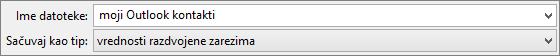 Čuvanje kontakta adresaru kao .csv datoteke