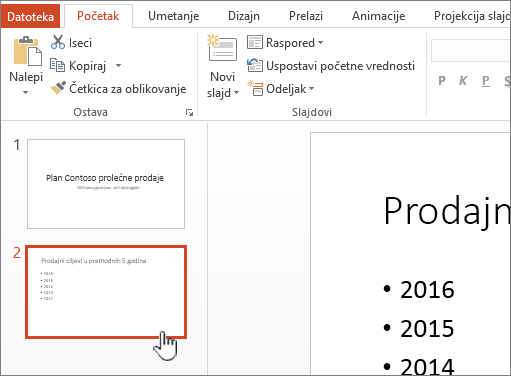 Normalan prikaz sa izabranom sličicu slajda