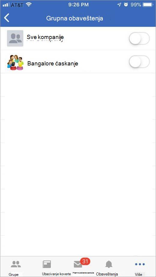 iOS Yammer stranice za izbor grupe da biste primili obaveštenja iz
