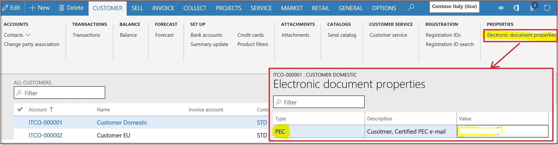 PEC property on Customer level