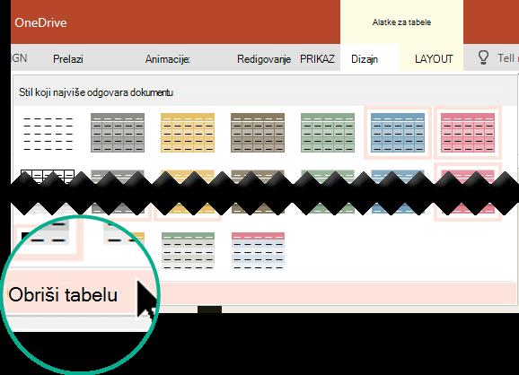 """Uklanjanje stila tabele pomoću komande """"Obriši tabelu""""."""