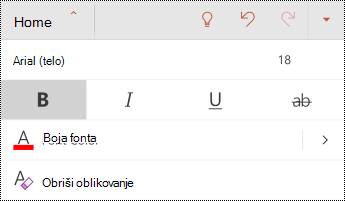 "Meni ""font"" u programu PowerPoint za android."