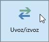 "Snimak ekrana dugmeta ""Uvezi/izvezi"" u programu Outlook 2016"