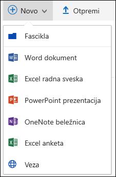 Kreiranje nove datoteke u biblioteci dokumenata u sistemu Office 365