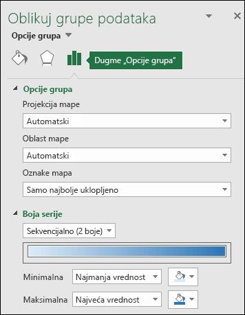 Opcije grupe okna zadataka za oblikovanje objekta Excel grafikona mape