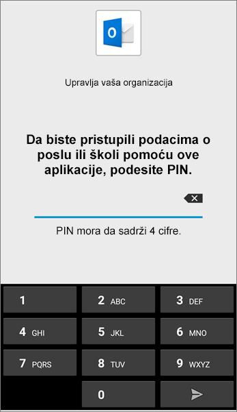 Postavite PIN kôd za Outlook aplikaciju u sistemu Android