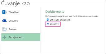 """Opcija """"Sačuvaj u usluzi OneDrive"""""""