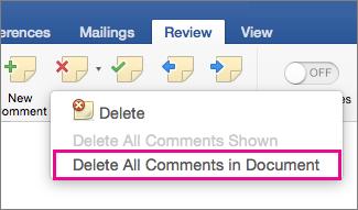 """Na kartici """"Redigovanje"""" je istaknuta stavka """"Izbriši sve komentare u dokumentu"""""""