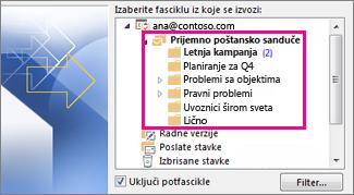 Fascikle e-pošte