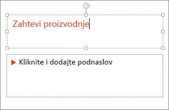 Prikazuje dodavanje teksta u polje za tekst u programu PowerPoint