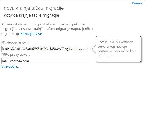 Potvrđena veza za Outlook Anywhere krajnju tačku.