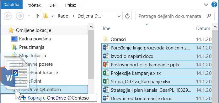 Prevucite datoteke u sinhronizovanu fasciklu usluge OneDrive for Business da biste ih otpremili