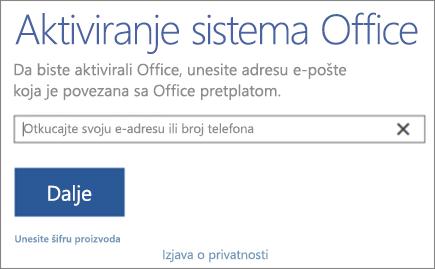 """Prikazuje prozor """"Aktiviranje sistema Office"""""""