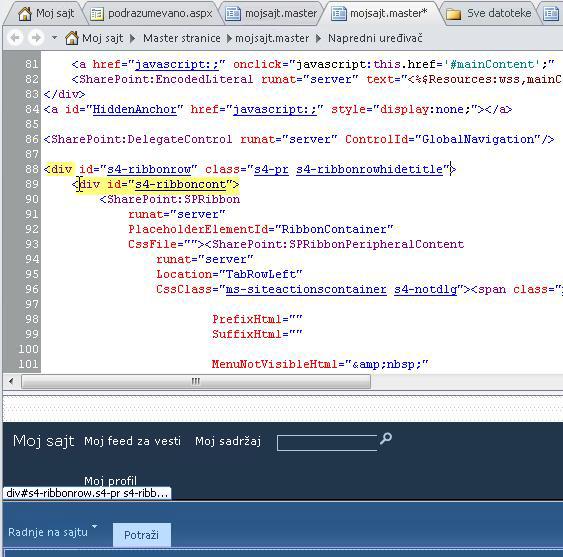 """Korišćenje Div oznaka pri prilagođavanju master stranice """"Moja lokacija"""""""