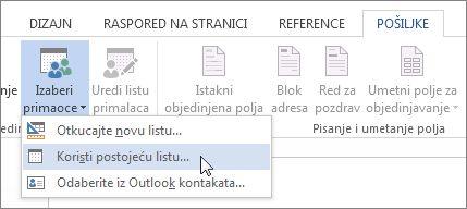 """Snimak ekrana kartice """"Pošiljke"""" u programu Word sa prikazanom komandom """"Izbor primalaca"""" i izabranom opcijom """"Koristi postojeću listu""""."""