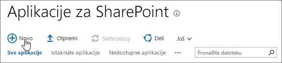 Katalog aplikacija SPO SharePoint sa istaknutim dugmetom za nove