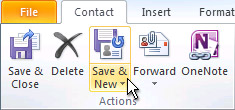 Save & New command on the ribbon