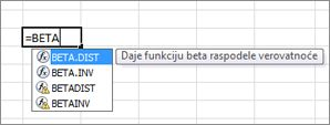 Primer automatskog dovršavanja formula