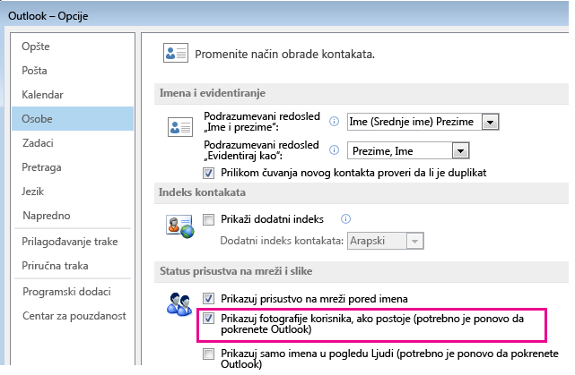 """Snimak ekrana prozora """"Opcije programa Outlook"""" sa markiranim poljem za potvrdu """"Omogući fotografije"""""""