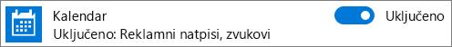 Isključivanje obaveštenja kalendara u operativnom sistemu Windows 10 pomoću postavki sistema