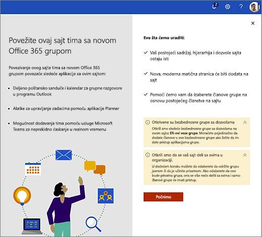 Ova slika prikazuje na prvom ekranu čarobnjaka za kreiranje nove Office 365.