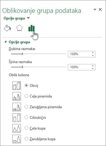 Podešavanje razmaka niza svojstava grupe podataka