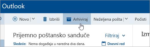"""Snimak ekrana dugmeta """"Arhiviraj""""."""