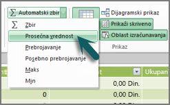 AutoSum u programskom dodatku PowerPivot