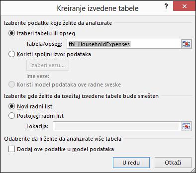 "Dijalog ""Kreiranje izvedene tabele programa Excel"""