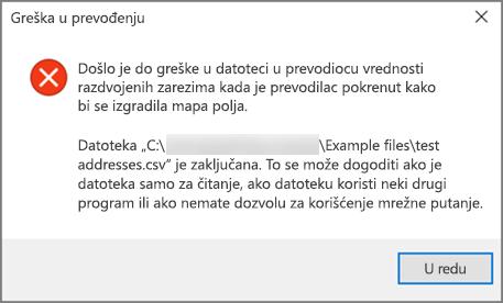 Ovo je poruka o grešci koju ćete dobiti ako .csv datoteka sadrži loše oblikovane podatke.