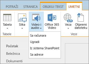 """Snimak ekrana SharePoint Online trake. Izaberite karticu """"Umetanje"""", a zatim izaberite stavku """"Video i audio"""" da biste naveli da li želite da dodate datoteku sa računara, SharePoint lokacije, veb adrese ili putem koda za ugradnju."""