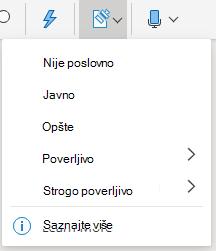 """Dugme """"osetljivost"""" i padajuća lista u sistemu Office na vebu"""
