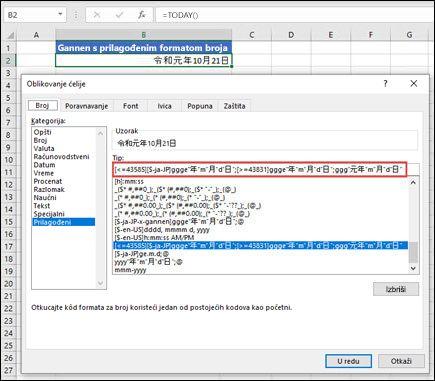 Primena Gannen formata sa prilagođenim brojem iz kombinacije tastera CTRL + 1 > kartici number > prilagođeni broj.