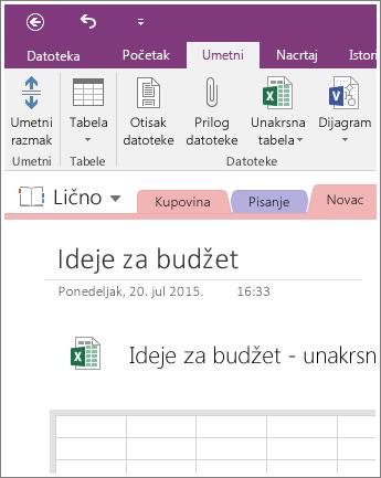 Snimak ekrana nove unakrsne tabele u programu OneNote 2016.
