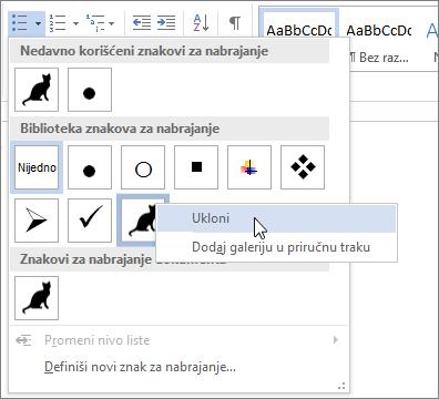 Uklanjanje stila znakova za nabrajanje iz biblioteke znakova za nabrajanje