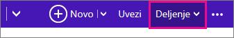 """Outlook.com - izaberite stavku """"Deljenje"""" radi izbora kalendara"""