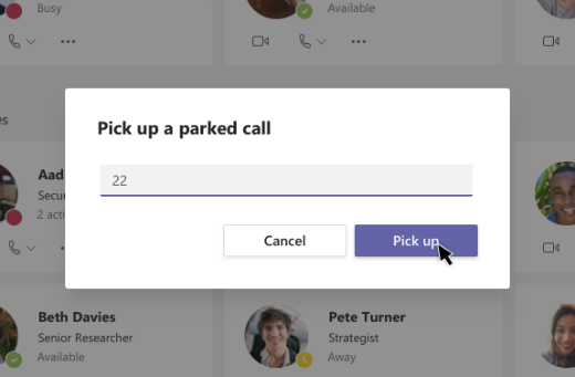 Preuzimanje parkirani poziva dijaloga