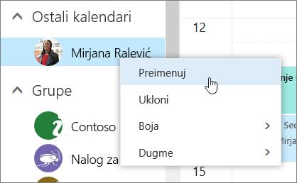 Snimak ekrana kontekstualnog menija Ostali kalendari.