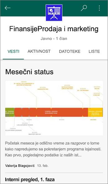 Snimak ekrana kartice vesti na lokaciji tima