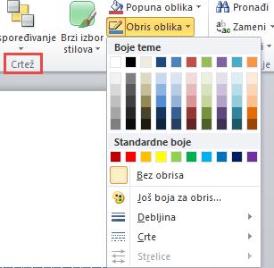 Meni obris oblika polja za tekst programa PowerPoint 2010
