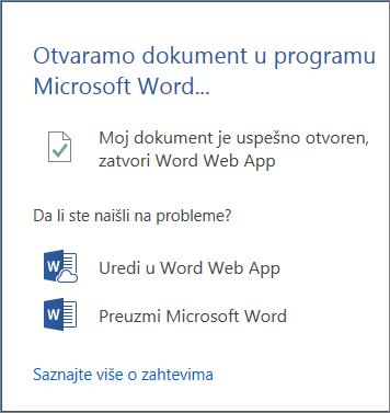 """Dijalog """"Otvaranje u programu Word"""