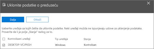 """U oknu """"Ukloni podatke preduzeća"""" izaberite uređaj sa kojeg želite da uklonite podatke."""