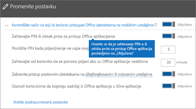 """Uverite se da je zahtevanje PIN-a ili otiska prsta za pristup Office aplikacijama postavljeno na """"Uključeno"""""""