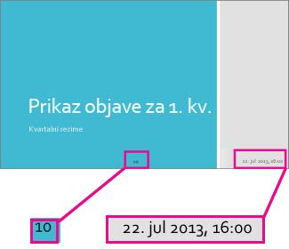 Dodavanje datuma, vremena i brojeva slajdova