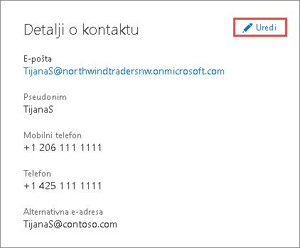 Korišćenje detalja o kontaktu za ažuriranje informacija o administratoru