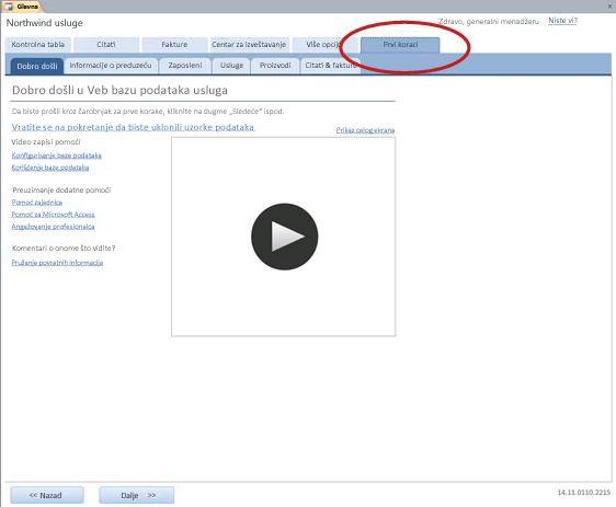 """Kartica """"Prvi koraci"""" predloška Services veb baze podataka"""