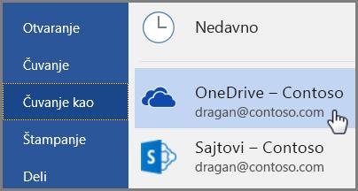 Brzi početak za zaposlene: Word čuvanje u usluzi OneDrive