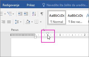 Označivač uvlačenja prvog reda je istaknut na lenjiru.