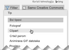 Otvorite Filter, potom u delu Tip, izaberite Clipart