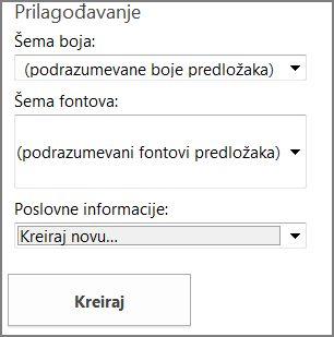 Opcije predloška razglednice sa lokacije Office.com.